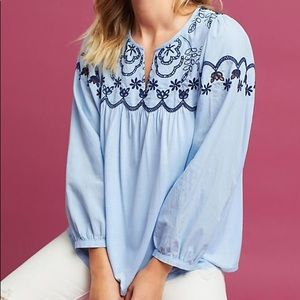 Anthro One September Embroidered Split Neck Top